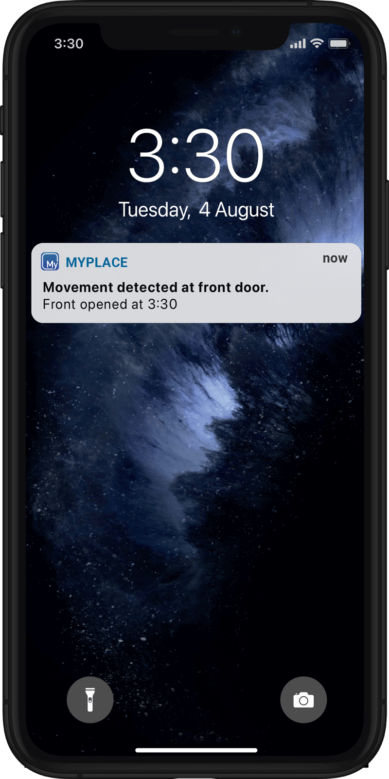 MyMonitor security alert on smart phone