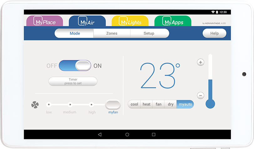 MyAir touch screen system to control your air conditioning