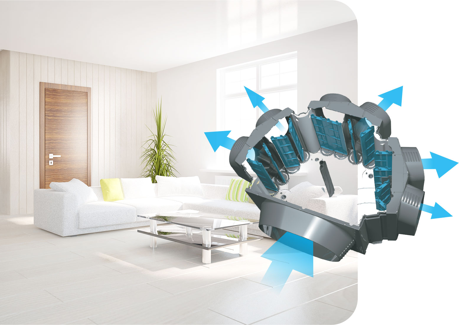 airflow system diagram to demonstrate how air travels in rooms like lounge room