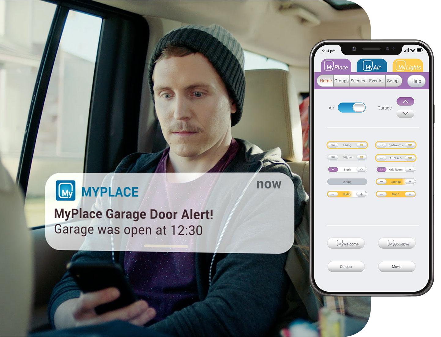Shocked man receives notification he left his garage door open